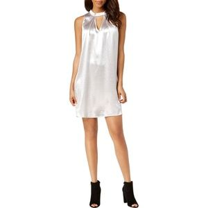 Bar III Silver Metallic Sleeveless Sexy Mini Dress